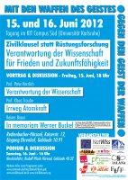 Plakat: Tagung Verantwortung der Wissenschaft für Frieden und Zukunftsfähigkeit